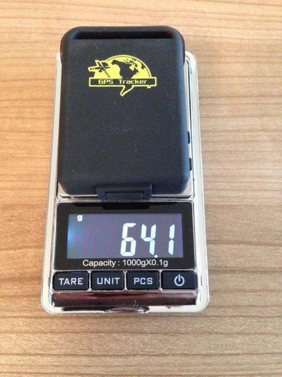 Gewicht des TK102 64,1 Gramm