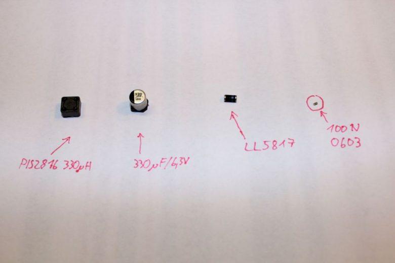 Bauteile des Micro LC-Filters gegen Videostörungen