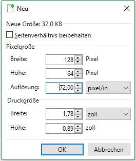 Breite: 128 Pixel, Höhe: 64, Auflösung: 72 Pixel/in